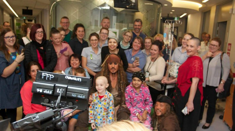Captain Jack Sparrow visits the sick children in Great Ormond Street Children's Hospital