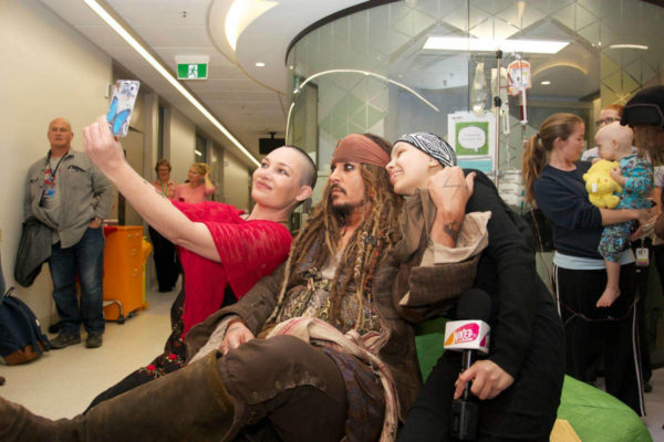 Johnny Depp visits children's hospital in Australia dressed as pirate Jack Sparrow