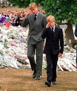 Prince Harry at mothers funeral