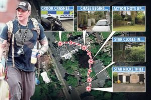 The route taken by Tom Hardy on the Hollywood-style chase