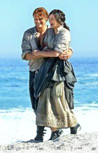 Caitriona Balfe as Claire Fraser and Sam Heughan as Jamie Fraser