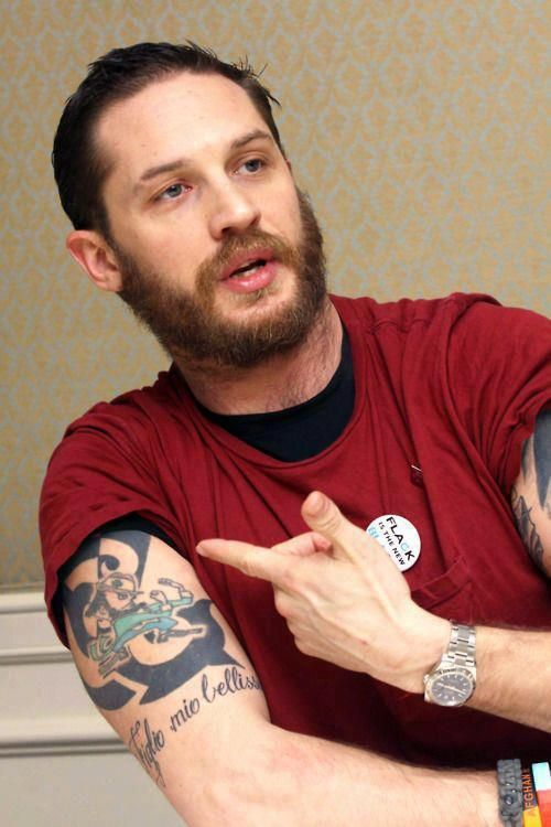 "Tom Hardy tattoo ""Figlio Mio Bellissimo"""