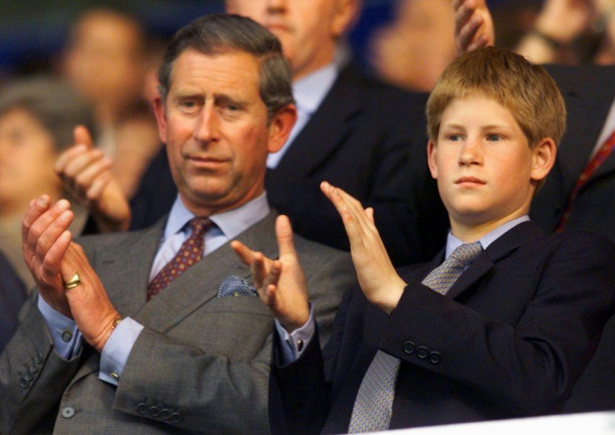 Prince Charles and Prince Harry at the 1998 World Cup in France
