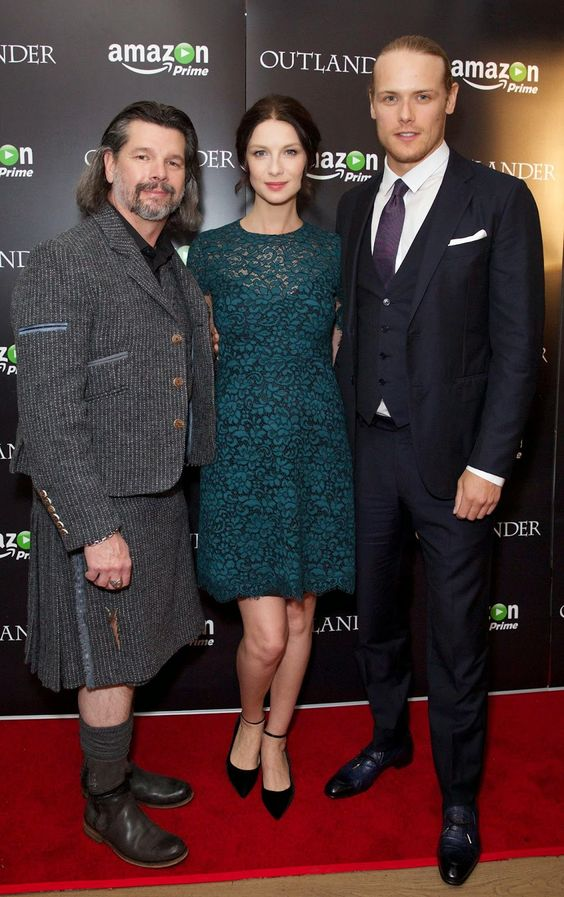 Ronald D. Moore, Sam Heughan and Caitiriona Balfe