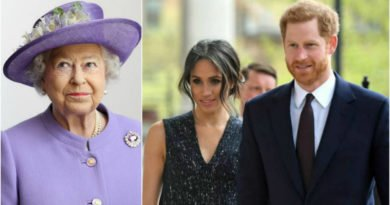 Meghan Markle and Prince Harry present from the Queen