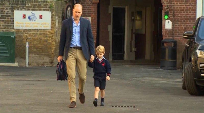Prince William take Prince George to school