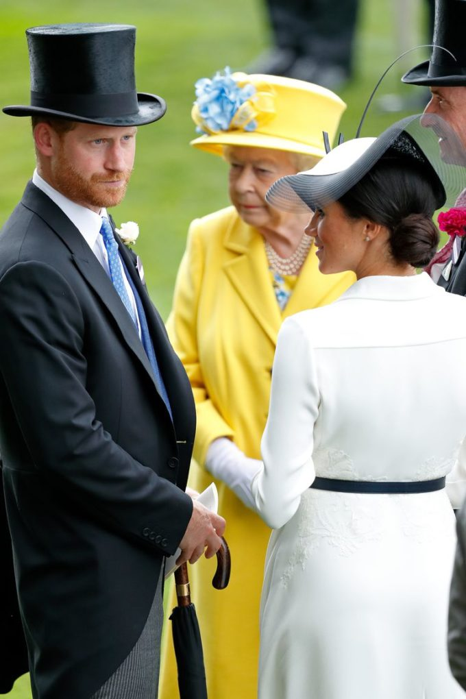 Prince Harry, Duchess Meghan, and the Queen arrive at the Royal Ascot.