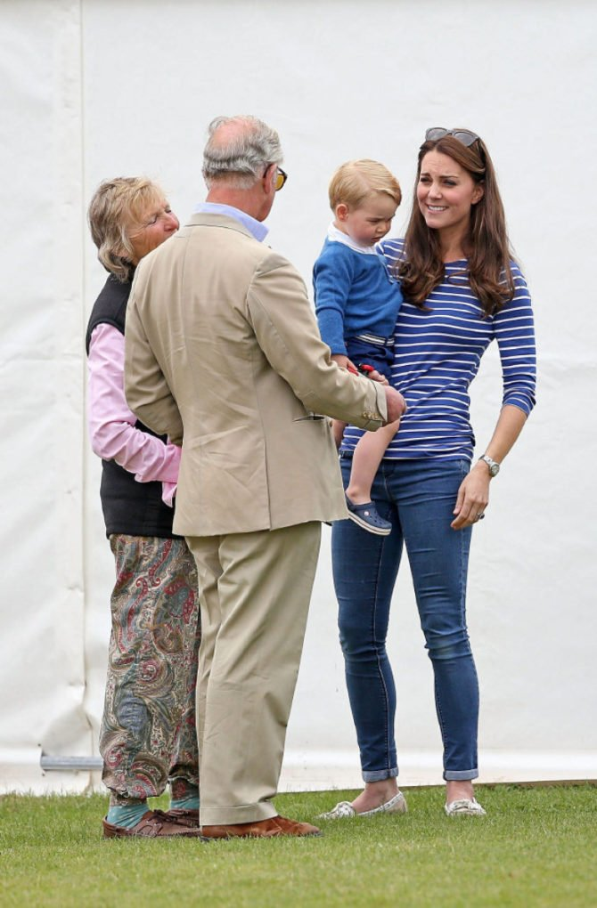 Prince Charles, Prince of Wales, talks to his grandson, Prince George