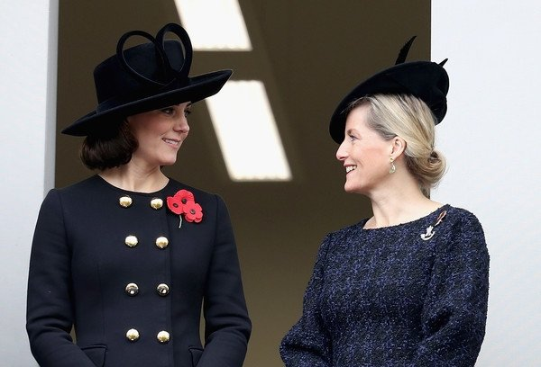 Catherine, Duchess of Cambridge and Sophie, Countess of Wessex during the annual Remembrance Sunday memorial in 2017
