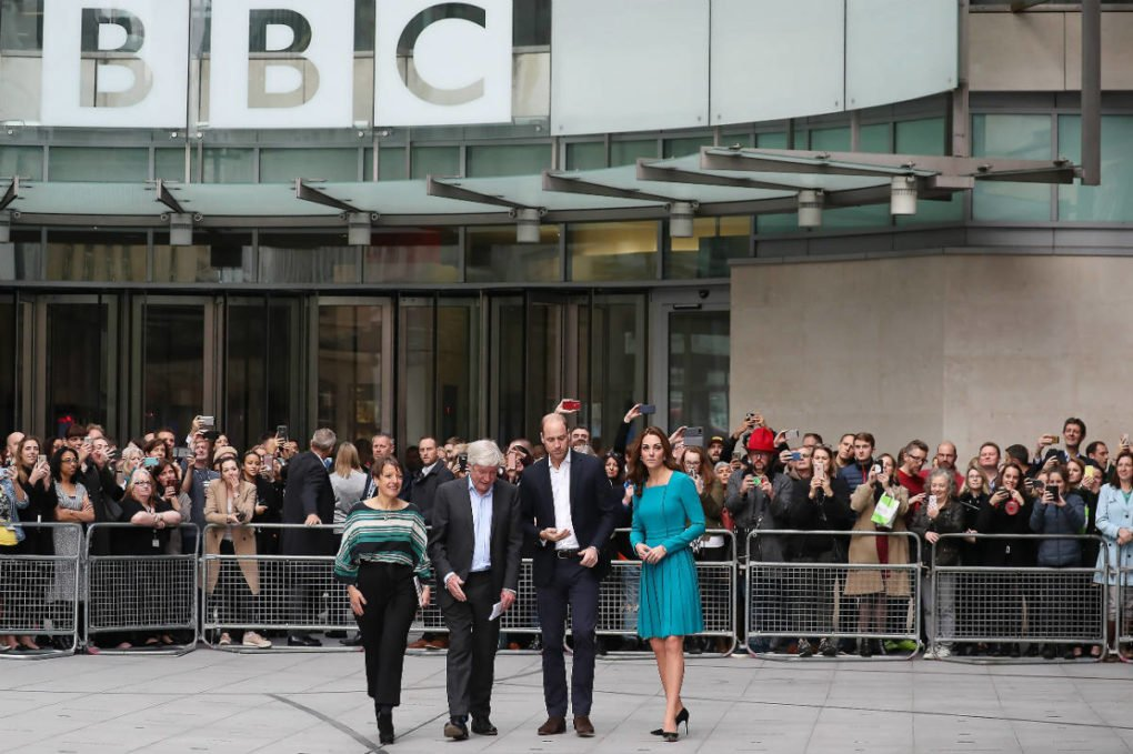 Alice Webb (left) with Lord Hall, William and Kate at the BBC