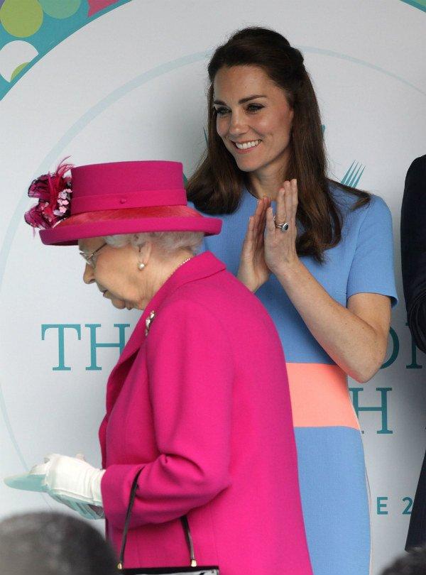 Catherine Duchess of Cambridge and Queen Elizabeth II