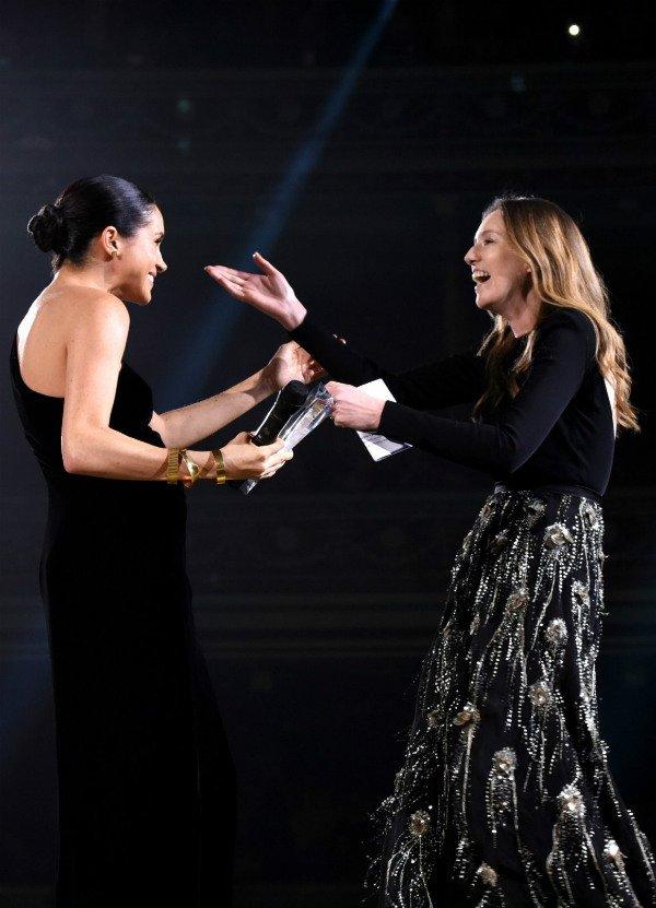 Meghan Markle and Waight Keller at british fashion award