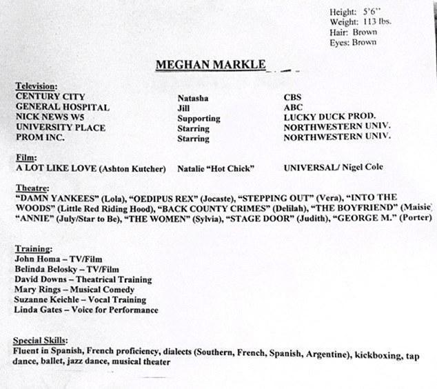 Meghan Markle old CV
