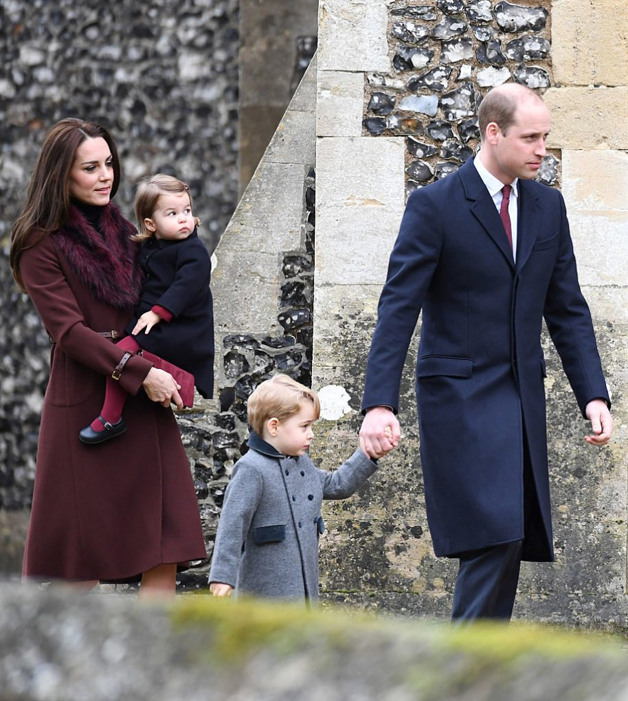 Prince William and Kate Middleton, Prince George and Princess Charlotte to the church in Kate's home