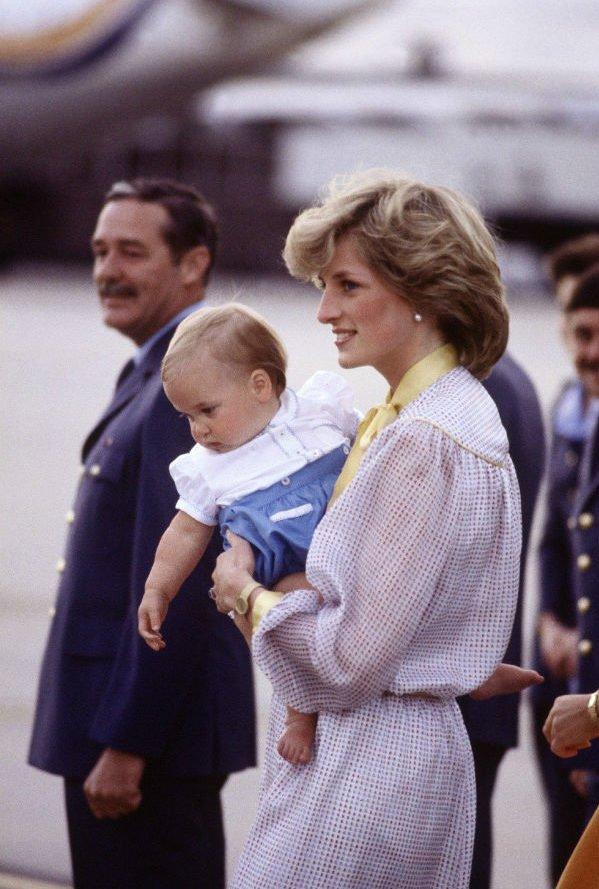 Princess Diana pictured with an infant Prince William during her royal tour of Australia