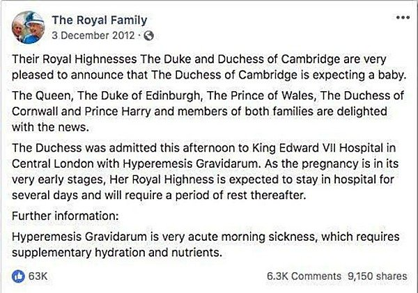 Royal announcement