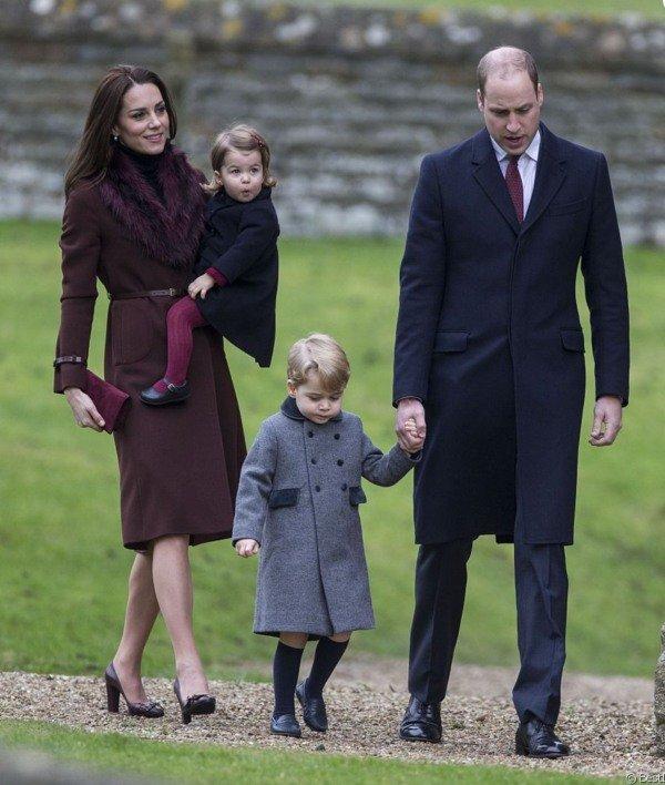 William, Kate, George, Charlotte Christmas