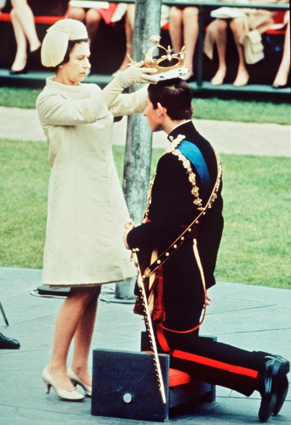 Queen Elizabeth and Prince Charles on July 1 1969