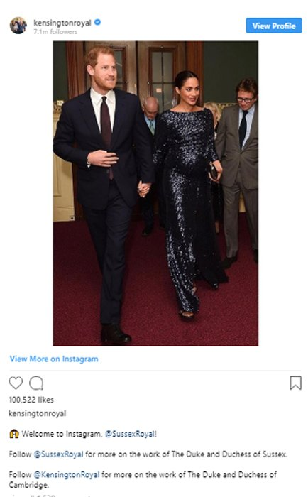 Kensington Palace's official account welcomed Harry and Meghan to Instagram