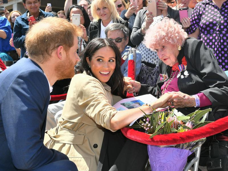 Prince Harry and Meghan Markle with Daphne Dunne