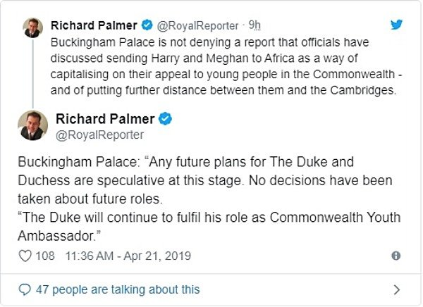 The Palace Responds To The Rumors Of Harry And Meghan Move To Africa
