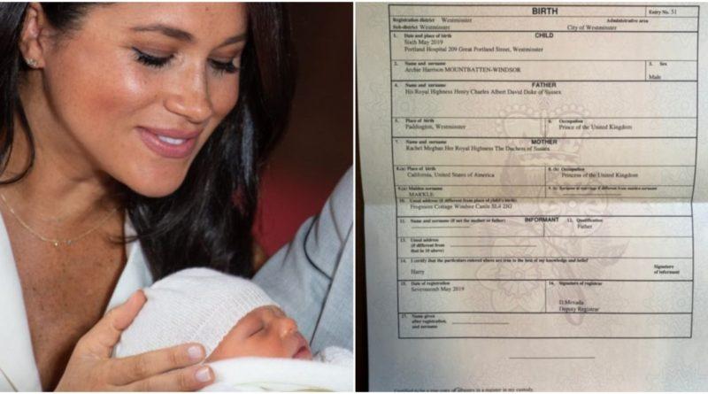 Archie's Birth Certificate