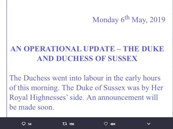 Meghan Is Officially In Labor With Her First Child