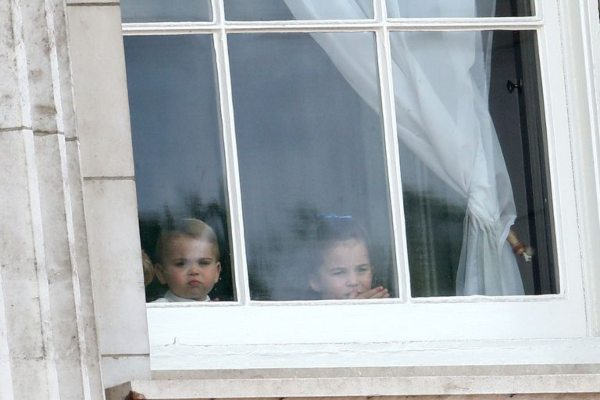George Charlotte And Louis Spotted Peeking Of Window At Trooping The Colour