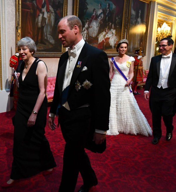 Theresa May, Prince William, Kate Middleton, and Steven Mnuchin at the State Banquet