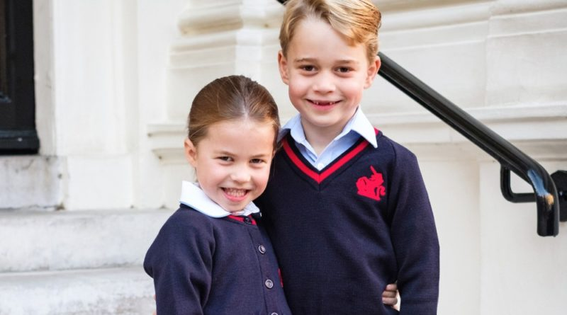 George And Charlotte Pose For A Sibling Portrait On First Day Of School
