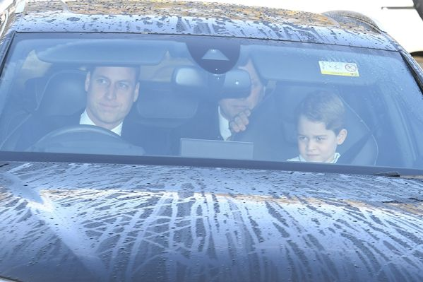 Prince William and Prince George arrivest at Queen's Christmas lunch