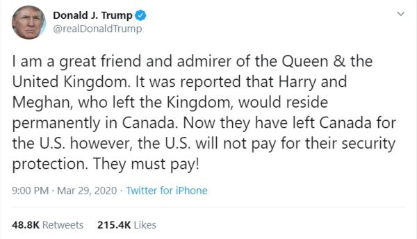 Donald Trump Harry Meghan TWEET