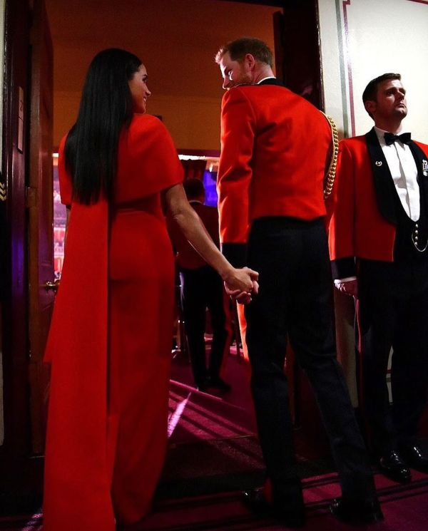 Harry And Meghan red dress at Mountbaten Festival of Music