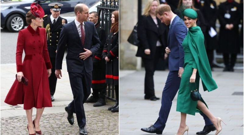 William, Kate, Harry And Meghan Arrive For Commonwealth Service