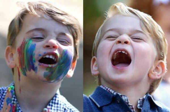 Prince Louis in 2020 and Prince George in 2016