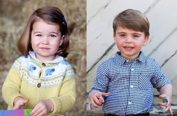 Princess Charlotte 2nd birthday portrait and Prince Louis 2nd birthday portrait