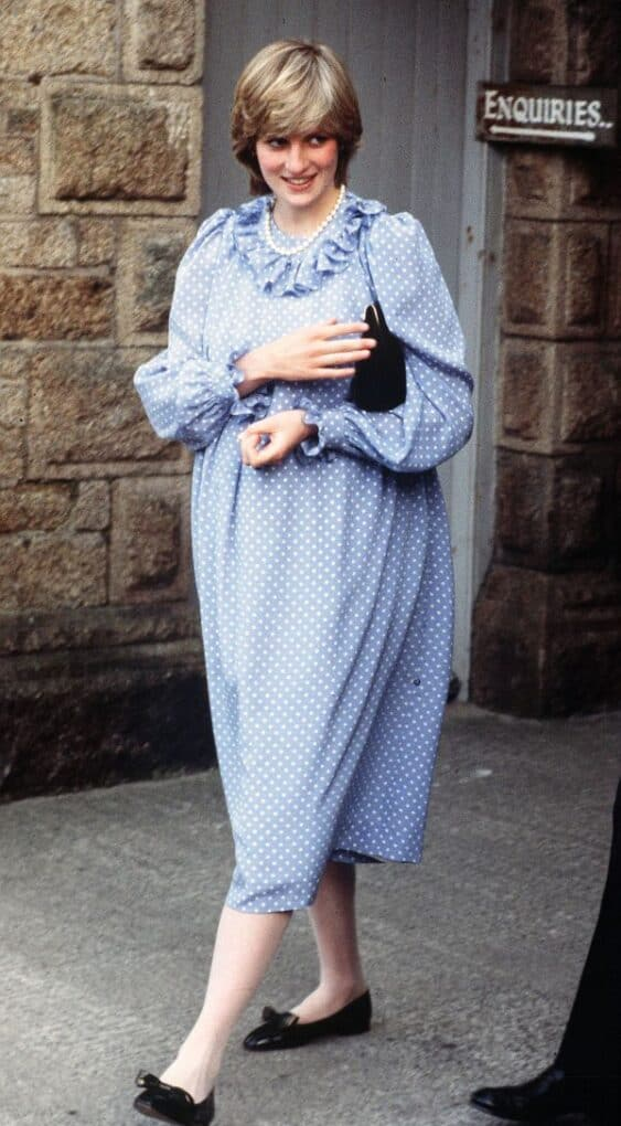 Princess Diana blue polka dot dress