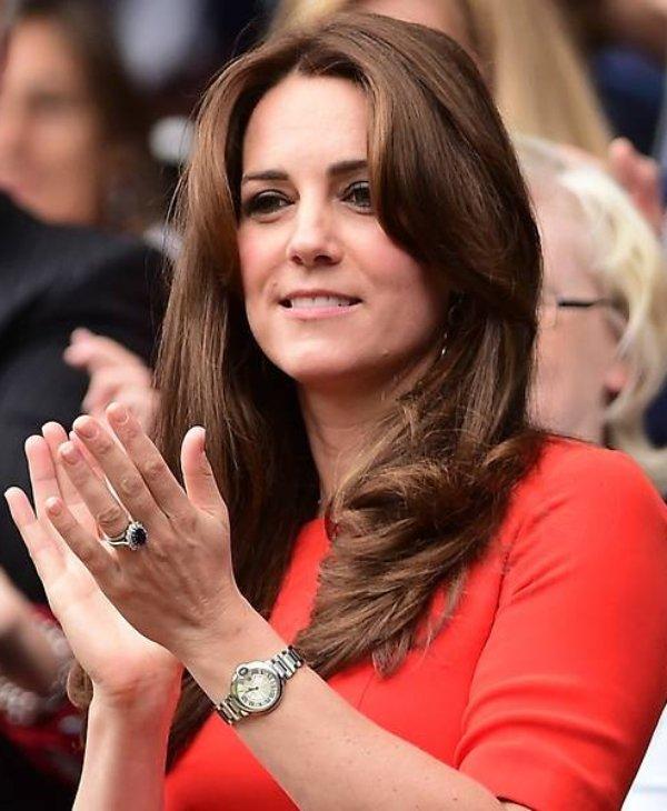 Kate Middleton weanig The Cartier Ballon Bleu watch