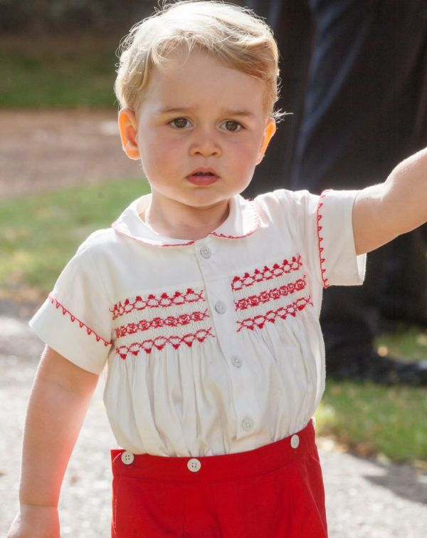 Prince George at Princess Charlotte' christening in 2015