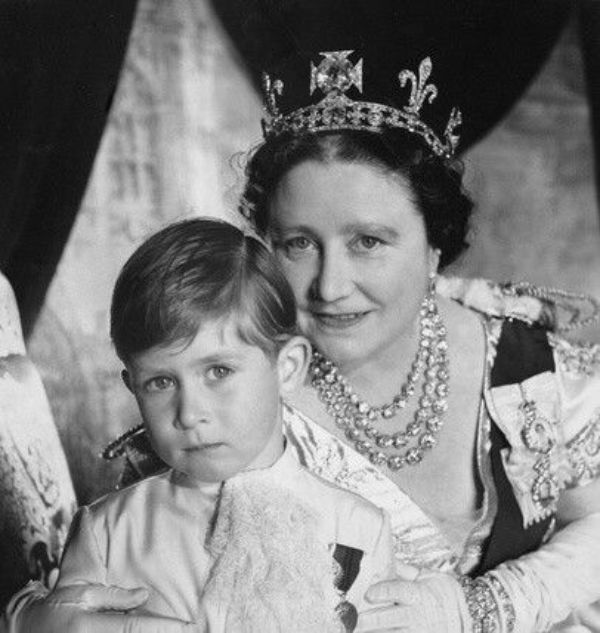 The Queen Mother and Prince Charles on the Coronation Day of Elizabeth II