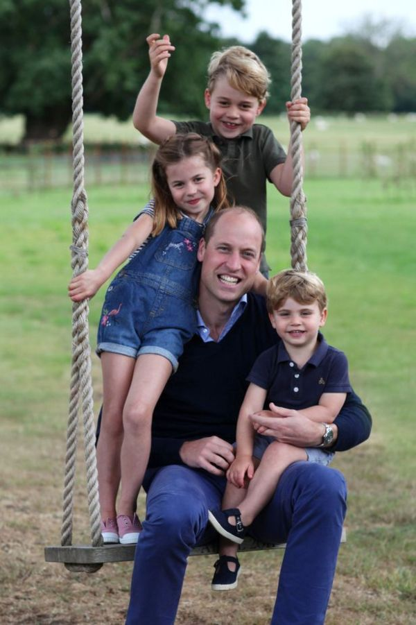 Prince William 38th birthday photo on a swing with George, Charlotte and Louis