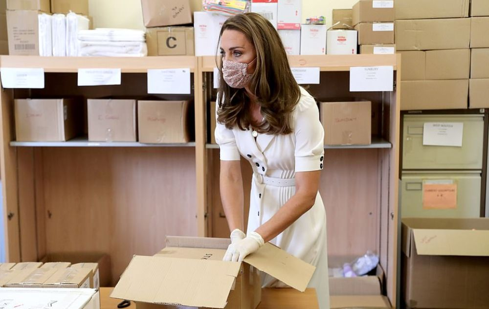 Duchess Kate Wears Face Mask For A Baby Bank Visit