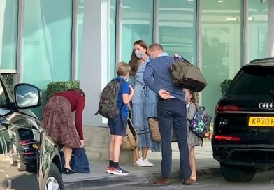 Prince William and Kate Middleton are spotted outside Heathrow Airport with their children 5